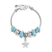 Brass Silver Plated Blue Crystals Glass Beads, Be My Flowers Charms Bracelets