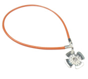 Beads R Us ® - Orange Real Leather and Sterling Silver Clip & lock clasp, clip and stopper opener - For the snap clasps and Clips on Pandora, Biagi, Troll, Chamilia and all European charm bracelets.