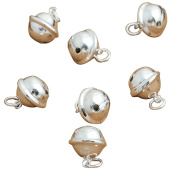 2 Sterling Silver Collar Bell Charms, 925 Silver Small Round Jingle Bell Dog Cat Charms
