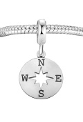 Genuine 925 Sterling Silver Compass Charm Bead C7B