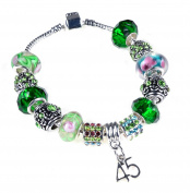 45th Birthday Green Themed Murano Charm Bracelet Pandora Style with Gift Box and Complimentary Gift Card.