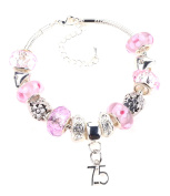 75th Birthday Pink Garland Themed Murano Charm Bracelet