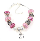 23rd Birthday Deep Pink Themed Murano Charm Bracelet