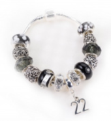22nd Birthday Black and Silver Murano Charm Bracelet