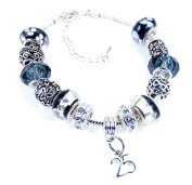 25th Birthday Black and Silver Murano Charm Bracelet Pandora Style with Gift Box and Complimentary Gift Card.