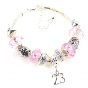 23rd Birthday Pink Garland Themed Murano Charm Bracelet with Gift Box & Card