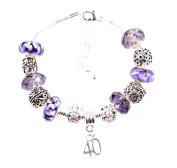 40th Birthday Purple Charm Bracelet with 11 Charms and Beads