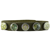 Quiges - 12mm Snap Button Bracelet Green with 5 Snap Buttons Set #44