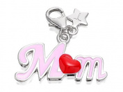 Tingle London Womens Jewellery SCH314 Pink MUM Red Heart Karab Clasp Charm