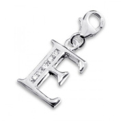 Initial Letter E Lobster Charm in 925 Stamped Sterling Silver with Cubic Zirconia