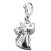 Cat Lobster Charm in 925 Stamped Sterling Silver with Cubic Zirconia