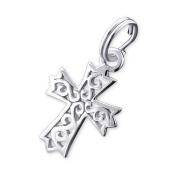 Cross Split Ring Charm in 925 Stamped Sterling Silver