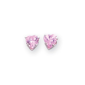 14ct White Gold 4mm Pink CZ Heart Earrings - Measures 4x4mm