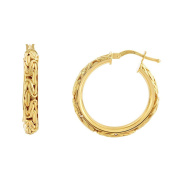 14ct Yellow Gold 4.1x20mm Shiny Byzantine Fancy Hoop Earrings With Hinge Clasp