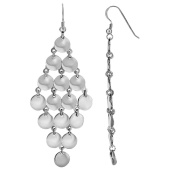 Rhodium Finish 30x80mm High Multi Solid Circle Forming 4 Point Diamond Earrings Euro Wire Clasp