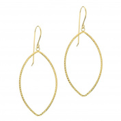 14ct Yellow Gold Star Diamond-cut Marquise Shaped Open Drop Earrings With French Wire