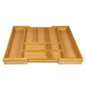 Woodluv Expandable Natural Cork Lined 7-9 Compartments Bamboo Kitchen Cutlery