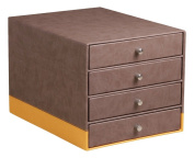 Clairefontaine Rhodiarama Chocolate Faux Leather 4 Drawer Organiser With Italian