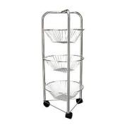 3 Tier Round Chrome Vegetable Fruit Storage Rack Trolley Stand Basket Kitchen
