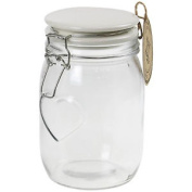 Clear Glass Heart Style Food Preserve Spices Sauce Storage Jar With White Lid