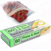 60x Press & Seal Reusable Food Bags Freezer/fridge Fresh Lunch Box Travel Dinner