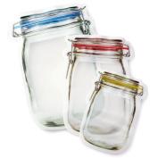 Mason Jar Shaped Reusable Zipper Bags Small Medium Large Stands When Filled