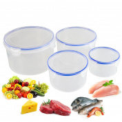4 Pc Food Storage Container Set Air Tight Clip Lids Space Save Bpa Free Plastic