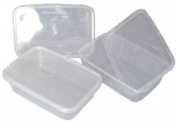 25 Clear Plastic 500ml Microwave / Freezer Safe Food Containers Size 170 X 120 X