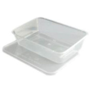 10 Plastic Food Containers - 500ml Capacity - Size 170x120x35mm