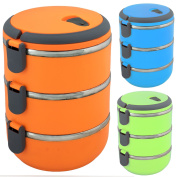 3 Tier Tiffin Lunch Box Stainless Steel Bowl Latch Lock Handle Picnics Office