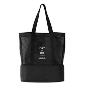 Insulated Lunch Shoulder Bag 2 Compartments Zip Closure Invisible Cooler