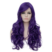 Priomix 70CM Long Curly Purple Full Head Synthetic Christmas Costume Cosplay Wig for Women+ Wig Cap