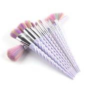 CDC® 10 Pcs Unicorn Handle Makeup Brushes Set Rainbow Hair Foundation Blending Powder Eyeshadow Contour Concealer Cream Blush Brush Kits