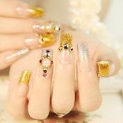 EchiQ Flat Long False Nails Gold Silver Glitter French Nails 24pcs Pearl Rhinestones Studs Designed Salon Quality