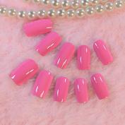 EchiQ Deep Pink Flat Nail Art Full Tips Shine Surface Long Lady False Nails 24pcs