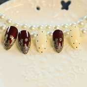 EchiQ 24Pcs Wine Red Pointed Lady False Nails Glitter Cream Acrylic French Nails