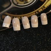 EchiQ 24pcs Flat Top White French Nails Glue on Nails Beige False Nail Tips Long Size