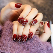 EchiQ Wine Red Fake Finger Nails Manicure Artificial False Nail Art Tips Agate Red Silver Glitter Cross Line DIY Nail Decorations