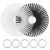 Hotop 100 Pieces Nail Art Tips Polish Display Stick Fan with 5 Rings for Practise Nail Art Designs