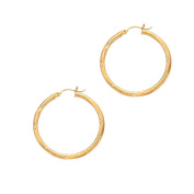 14ct Yellow Gold 2x25mm Shiny Diamond-cut Round Tube Hoop Earrings With Hinged Clasp