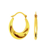 10k Yellow Gold Small Over Graduated Hoop Earrings With Hinged Clasp - Higher Gold Grade Than 9ct Go