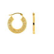 10k Yellow Gold Textured Greek Key Pattern Round Hoop Earrings With Hinged Clasp