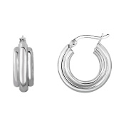 Silver Rhodium Finish 7.5x8mm High Polished 3 Row Slightly Graduated Round Hoop Earrings Hinge Clasp