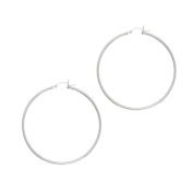 Silver With Rhodium Finish 2.0x50mm All Shiny Hoop Earrings With Hinged Clasp