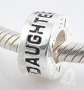"""""""Daughter"""" Spacer - Sterling Silver Charm Bead - fits Pandora, Chamilia etc style Bracelets - SpangleBead"""
