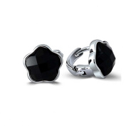 Jade Angel 925 Sterling Silver Star Synthetic Black Onyx Stud Earrings