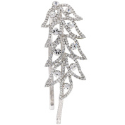 Gemini London Jewellery's Crystal Leaf Side Detail Hair Band with Clear White Crystals, Nickel Free, Rhodium Plated, Silver Effect Finish
