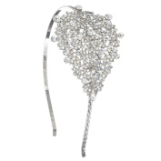 Gemini London Jewellery's Crystal Leaf Cluster Hair Band with Crystals, Nickel Free, Rhodium Plated, Silver Effect Finish