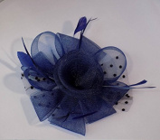 Wedding Fascinator in Navy Blue with Polkadot Netting