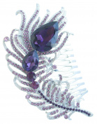 Sindary Luxury 11cm Silver Tone Purple Rhinestone Crystal Peacock Feather Hair Comb Wedding Headpiece UKH5038